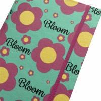 """Notizbuch Tagebuch """"Bloom/Mint"""" A5 Hardcover stoffbezogen Stoff Blumen Retro Retrofan Geschenk Geschenk Bild 1"""