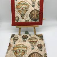 Topflappen aus Stoff, Patchwork-Topflappen mit antiken Ballons Bild 1