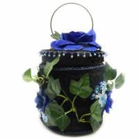 Handtasche rund schwarz mit Rosen, Blumen Tasche mit Perlen Bild 1