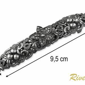 Haarspange Silber, Trachten Haarspange Dirndl Schmuck, Metall Haarspange Jugendstil, Hochzeit Haarspange Braut Bild 4
