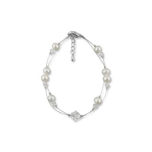 Perlenarmband, Hochzeit Armband Süßwasser Perlen creme ivory, Swarovski Strass, 925 Silber, Perlenschmuck, Armkette