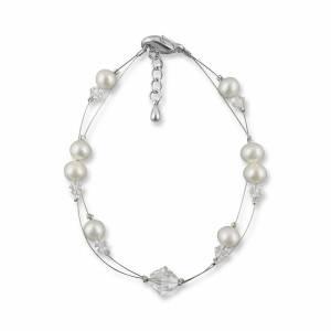 Perlenarmband, Hochzeit Armband Süßwasser Perlen creme ivory, Swarovski Strass, 925 Silber, Perlenschmuck, Armkette Bild 1