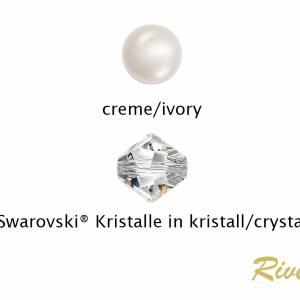 Perlenarmband, Hochzeit Armband Süßwasser Perlen creme ivory, Swarovski Strass, 925 Silber, Perlenschmuck, Armkette Bild 2