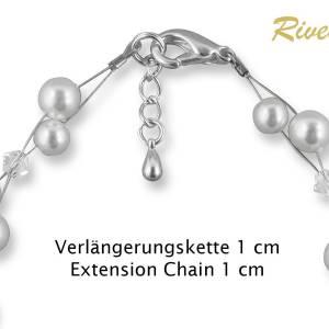 Perlenarmband, Hochzeit Armband Süßwasser Perlen creme ivory, Swarovski Strass, 925 Silber, Perlenschmuck, Armkette Bild 4