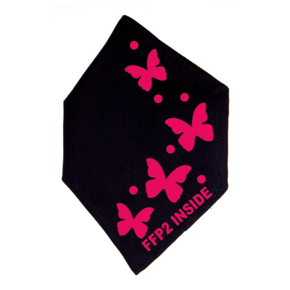 """Überzug FFP2 Maske """"Schmetterlinge"""" Schwarz oder Weiß - Motiv in Wunschfarbe Bild 1"""