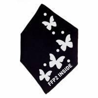 """Überzug FFP2 Maske """"Schmetterlinge"""" Schwarz oder Weiß - Motiv in Wunschfarbe Bild 3"""