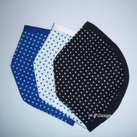 FFP2-Masken Überzug, sehr leicht, 3er Set in Wunschfarben, klassisch, einlagig-Pünktchen, Baumwolle, waschbar bis 60° Bild 1