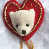 Wunderschöne Brosche Handarbeit Teddybär Valentine Bild 1