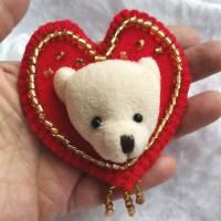 Wunderschöne Brosche Handarbeit Teddybär Valentine Bild 2