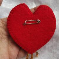 Wunderschöne Brosche Handarbeit Teddybär Valentine Bild 3
