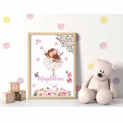 Poster Geschenk Geburtstag Geburtsdaten Geburt Taufe Ballerina 1
