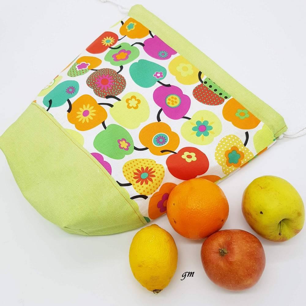 grüner Stoffbeutel mit Zugband nicht nur für Ostern, Obstbeutel, Brötchenbeutel, Stofftasche für Osternest Bild 1