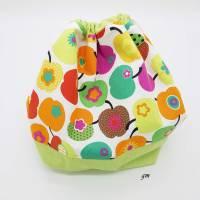 grüner Stoffbeutel mit Zugband nicht nur für Ostern, Obstbeutel, Brötchenbeutel, Stofftasche für Osternest Bild 2