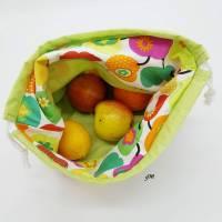 grüner Stoffbeutel mit Zugband nicht nur für Ostern, Obstbeutel, Brötchenbeutel, Stofftasche für Osternest Bild 3