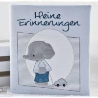 Ordner/Portfolio hellblau gemustert mit Elefant und Stickerei 'Meine Erinnerungen' Bild 1