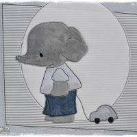 Ordner/Portfolio hellblau gemustert mit Elefant und Stickerei 'Meine Erinnerungen' Bild 2