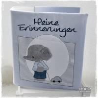 Ordner/Portfolio hellblau gemustert mit Elefant und Stickerei 'Meine Erinnerungen' Bild 4