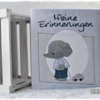 Ordner/Portfolio hellblau gemustert mit Elefant und Stickerei 'Meine Erinnerungen' Bild 5