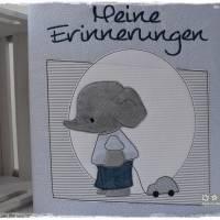 Ordner/Portfolio hellblau gemustert mit Elefant und Stickerei 'Meine Erinnerungen' Bild 6