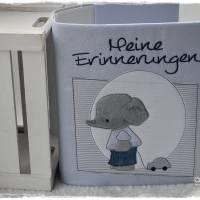 Ordner/Portfolio hellblau gemustert mit Elefant und Stickerei 'Meine Erinnerungen' Bild 8