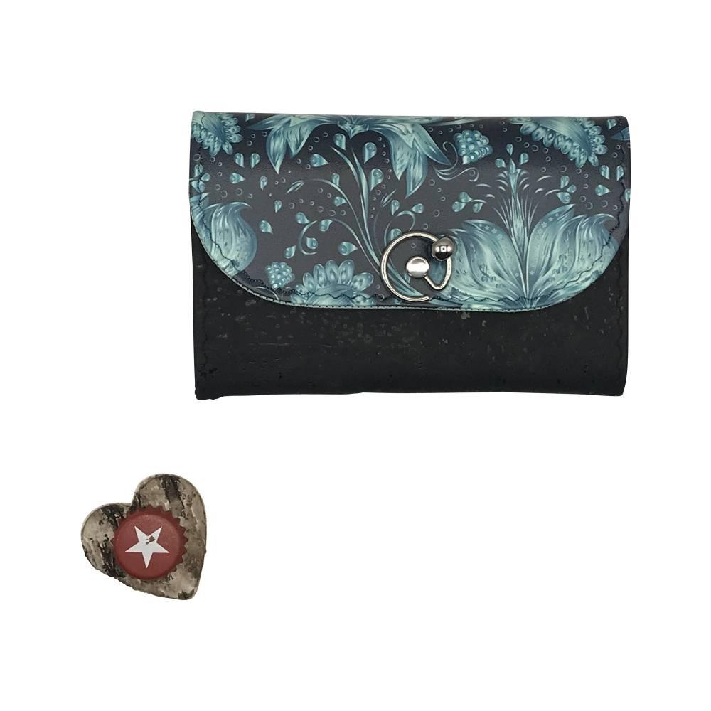 Geldbörse Geldbeutel Geldtasche - Kunstleder Black Meadow Blumen türkis Kork schwarz Bild 1