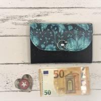 Geldbörse Geldbeutel Geldtasche - Kunstleder Black Meadow Blumen türkis Kork schwarz Bild 3