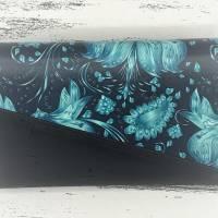 Geldbörse Geldbeutel Geldtasche - Kunstleder Black Meadow Blumen türkis Kork schwarz Bild 4