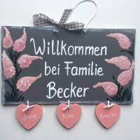 Türschild,Frühlingszauber, Altrosa, Familientürschild, Holztürschild, Türschild mit Herzanhänger, Personalisiert Bild 1