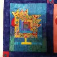 Wandquilt mit Hühner im Log Cabin Muster genäht Bild 5