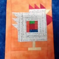 Wandquilt mit Hühner im Log Cabin Muster genäht Bild 6