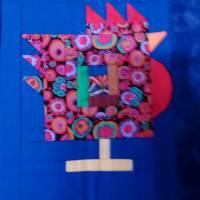 Wandquilt mit Hühner im Log Cabin Muster genäht Bild 7