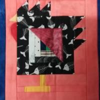 Wandquilt mit Hühner im Log Cabin Muster genäht Bild 8