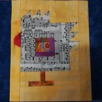 Wandquilt mit Hühner im Log Cabin Muster genäht Bild 9