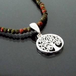 Unakit Halskette mit Lebensbaum, Halskette für Frauen, zierliche Halskette, Lebensbaum Charm, 925er Sterling Silber Bild 1