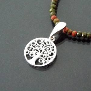 Unakit Halskette mit Lebensbaum, Halskette für Frauen, zierliche Halskette, Lebensbaum Charm, 925er Sterling Silber Bild 2