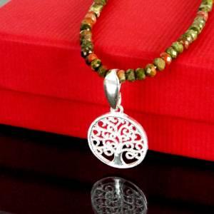 Unakit Halskette mit Lebensbaum, Halskette für Frauen, zierliche Halskette, Lebensbaum Charm, 925er Sterling Silber Bild 3