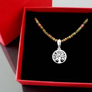 Unakit Halskette mit Lebensbaum, Halskette für Frauen, zierliche Halskette, Lebensbaum Charm, 925er Sterling Silber Bild 4