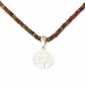 Unakit Halskette mit Lebensbaum, Halskette für Frauen, zierliche Halskette, Lebensbaum Charm, 925er Sterling Silber Bild 5