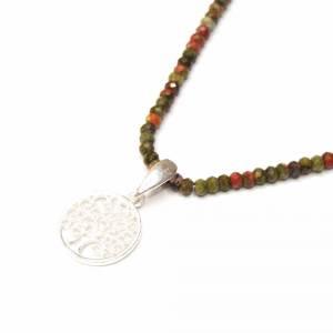 Unakit Halskette mit Lebensbaum, Halskette für Frauen, zierliche Halskette, Lebensbaum Charm, 925er Sterling Silber Bild 6