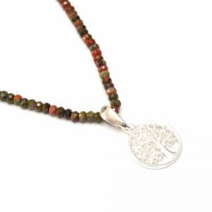 Unakit Halskette mit Lebensbaum, Halskette für Frauen, zierliche Halskette, Lebensbaum Charm, 925er Sterling Silber Bild 7