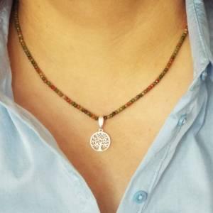 Unakit Halskette mit Lebensbaum, Halskette für Frauen, zierliche Halskette, Lebensbaum Charm, 925er Sterling Silber Bild 8