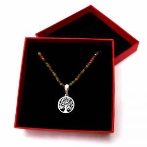 Unakit Halskette mit Lebensbaum, Halskette für Frauen, zierliche Halskette, Lebensbaum Charm, 925er Sterling Silber Bild 9