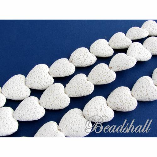 Lava Herzen Farbe Weiss gefärbt 1 Strang Lavaherzen