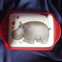 Butterdose mit einem verliebten Nilpferd Valentinstag,verliebte, Bild 1