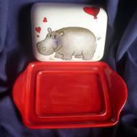 Butterdose mit einem verliebten Nilpferd Valentinstag,verliebte, Bild 2
