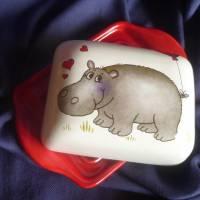 Butterdose mit einem verliebten Nilpferd Valentinstag,verliebte, Bild 3
