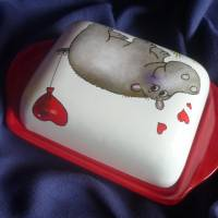 Butterdose mit einem verliebten Nilpferd Valentinstag,verliebte, Bild 4