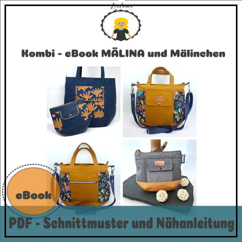 Nähanleitung Kombi-eBook Tasche MÄLINA und Mälinchen Bild 1
