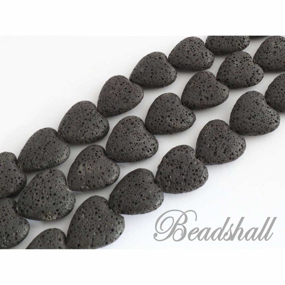 Lava Herzen Farbe Schwarz gefärbt 1 Strang Lavaherzen Bild 1