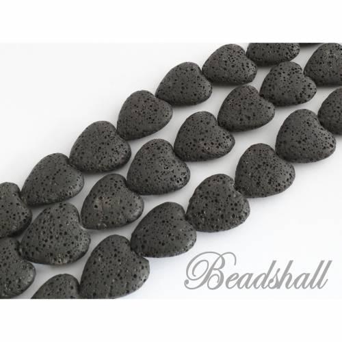 Lava Herzen Farbe Schwarz gefärbt 1 Strang Lavaherzen